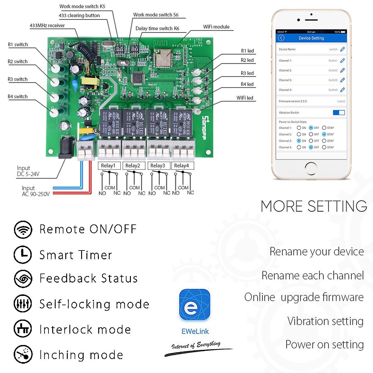 Interruptor Inalámbrico Inteligente WiFi - 4CH Pro R2 - 4 Canales Conmutador de Control Remoto del Temporizador con Inching /Autobloqueo /Enclavamiento para Alexa+Soporte de Teléfono: Amazon.es: Bricolaje y herramientas