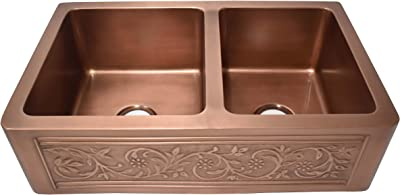 Empire Industries VE33D Versailles Farmhouse Copper Kitchen Sink with Grid and Strainer, 33