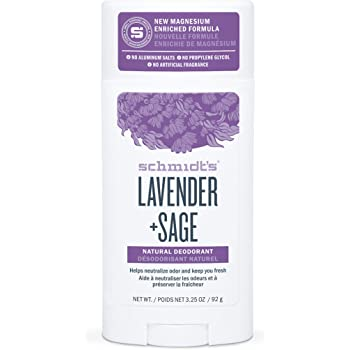 Schmidt's Aluminum Free Natural Deodorant for Women and Men, Lavender + Sage, Relaxing Fragrance Helps Wind Down From Stress, Certified Cruelty Free, Vegan Deodorant, 3.25 oz, sage,lavender