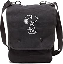 Grab A Smile Happy Snoopy Canvas Crossbody Travel Map Bag Case