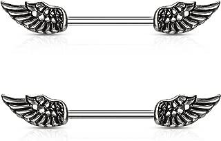 Angel Wings Nipple Piercing Rings Steel Barbells - 14 Gauge 5/8