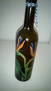 Botella decorada flor del paraiso.