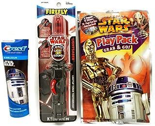 Star Wars Kids Grab Bag Bundle: Stars Wars Play Pack-Star Wars Darth Vader Light Saber Toothbrush -Star Wars Toothpaste Bubble Gum