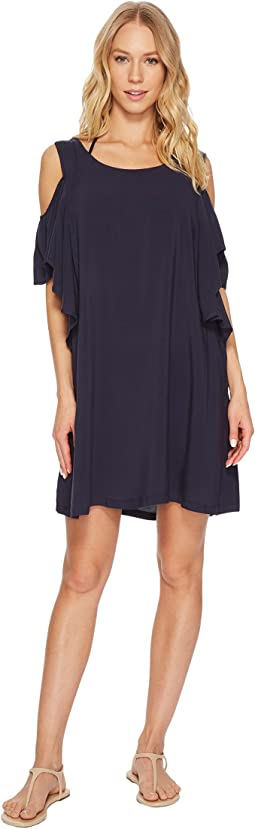 Geometric Glamour Solids Cold Shoulder Ruffle Dress Cover-Up