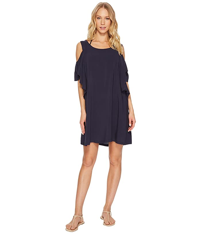 MICHAEL Michael Kors Geometric Glamour Solids Cold Shoulder Ruffle Dress Cover-Up (New Navy) Women