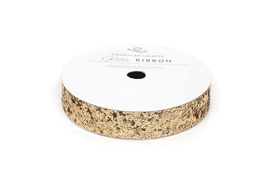 Ribbon Large Glitter Solid Gold 5/8