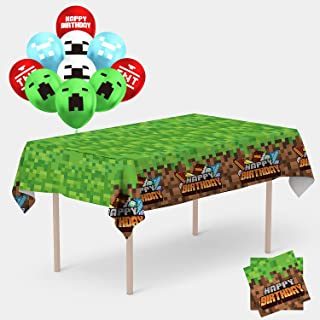 Details about  /minecraft party supplies birthdayHappy Birthday Banner!Tablecloth Plates Cup