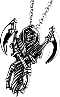 Men Gothic Biker Stainless Steel Death Grim Reaper Skull with Scythe Pendant Necklace with 22