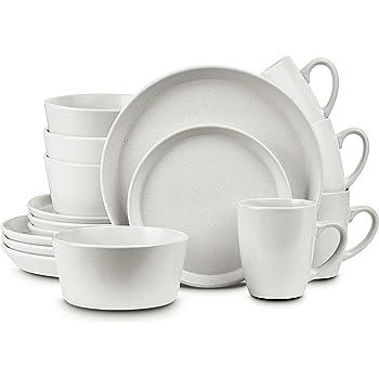 Stone Lain Stoneware Dinnerware Set, Service For 4, Snow White