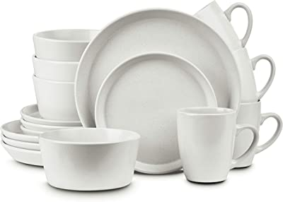 Stone Lain Stoneware Dinnerware Set, Service For 4, Snow White