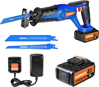 Reciprocating Saw, SORAKO 18V Cordless Reciprocating Saw with 4.0Ah Li-Ion Battery, 0-3000SPM Variable Speed Electric Saw,...