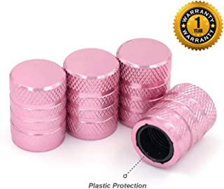 Tire Valve Stem Caps, Pink, 4 pcs/Pack, Anodized Aluminum Tire Valve Cap Set, Corrosion Resistant, Universal Stem Covers for Trucks Motorcycles and Bikes