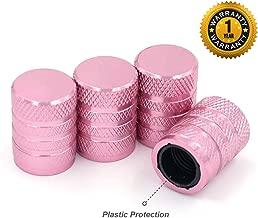 Tire Valve Stem Caps, Pink, 4 pcs/Pack, Anodized Aluminum Tire Valve Cap Set, Corrosion Resistant, Universal Stem Covers for Trucks Motorcycles and Bikes