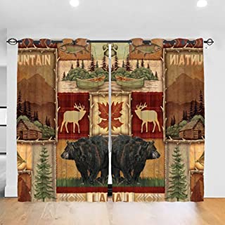 JinSPef Rustic Lodge Bear Moose Mountain Lake Blackout Curtains Light Blocking Draperies Window Drapes Curtain for Living Room Child Bedroom Kitchen Cafe 52 X 72 Inch Set of 2 Panels Punch