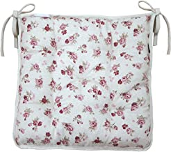 Provence Soft Cotton Floral Chair Cushion with Ties in French Country Style, 15'' x 15'', Red Rose