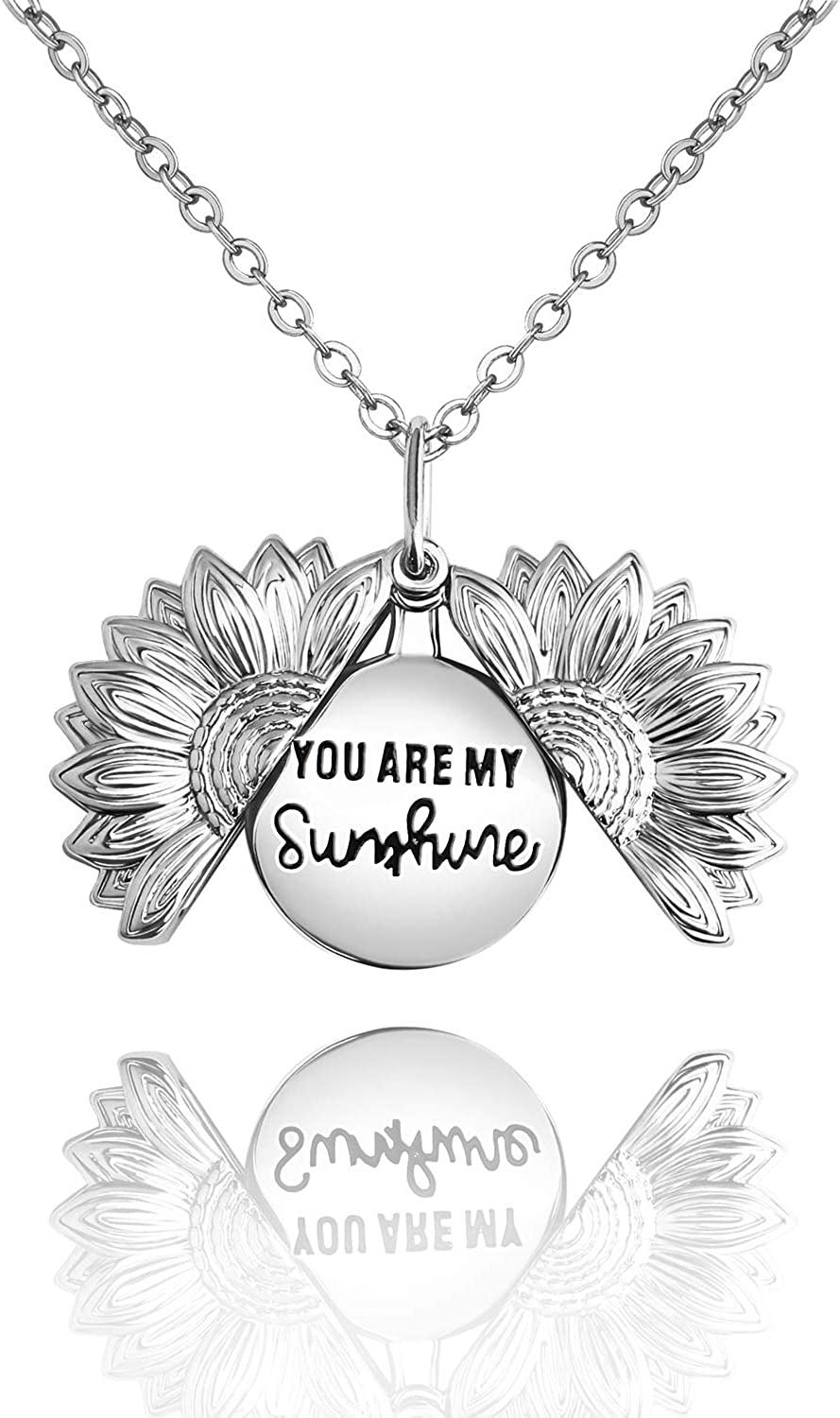 DWJSu You are My Sunshine Necklace Sunflower Locket Pendant Necklace Inspirational Gifts for Women Teen Girls Girlfriend