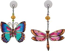 Regal Art & Gift Suncatchers for Home, Garden, Window and Wall Art (Pink Dragonfly & Green Butterfly)