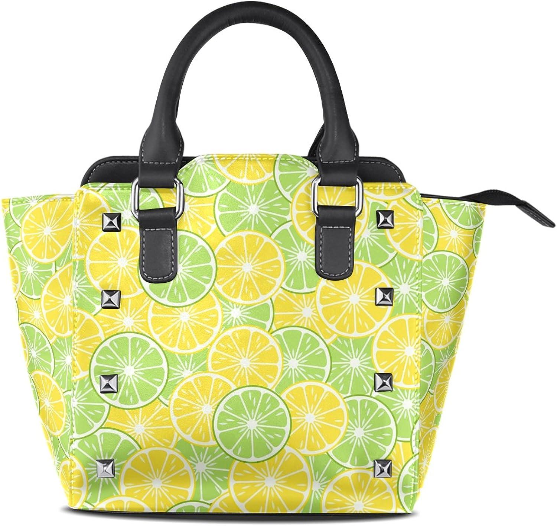 My Little Nest Women's Top Handle Satchel Handbag Lemon Slices Ladies PU Leather Shoulder Bag Crossbody Bag