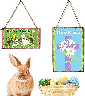 Jetec 2 Pieces Easter Bunny Wood Door Hanging Sign Happy Easter Wall Decoration He is Risen Wood Hanging Sign Wooden Rabbi...