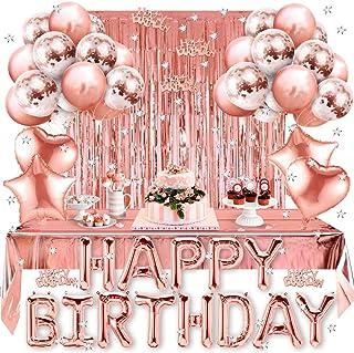 Korins Globos Cumpleaños Decoracione, Feliz Cumpleaños Fiesta Decoración Oro Rosa, Happy Birthday Suministros y Decoración...