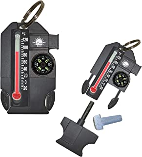 Sun Company Outsider - 4-in-1 Survival Multi-Tool | Compass, Thermometer, Whistle, and Fire Starter in a Compact Zipperpull