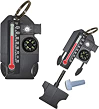 Sun Company Outsider - 4-in-1 Survival Multi-Tool   Compass, Thermometer, Whistle, and Fire Starter in a Compact Zipperpull