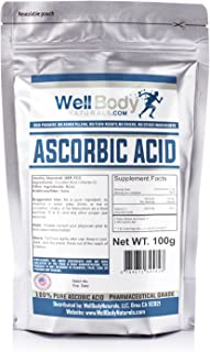 WellBodyNaturals Pure Ascorbic Acid (Vitamin C) Powder (100 grams)