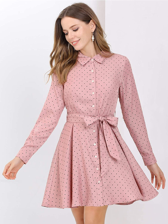 Allegra K Women's Polka Dots Turndown Collar Belted Long Sleeve Shirt Dress