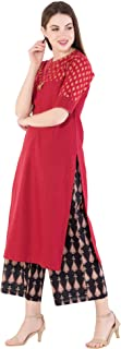 Harshana Women's Red Kurta With Black Palazzo Pant Set (Gold Print)