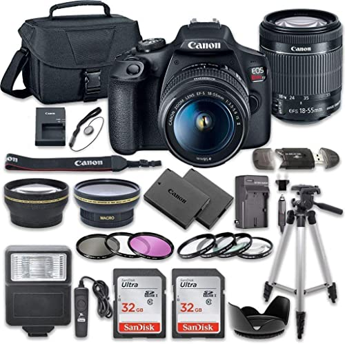 Canon EOS Rebel T7 DSLR Camera Bundle with Canon EF-S 18-55mm f/3.5-5.6 is II Lens + 2pc SanDisk 32GB Memory Cards + ...