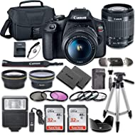 Canon EOS Rebel T7 DSLR Camera Bundle with Canon EF-S 18-55mm f/3.5-5.6 is II Lens + 2pc SanDisk...