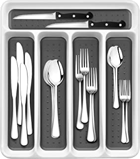 RayPard 20-Piece Silverware Set, Flatware Set Mirror Polished, Dishwasher Safe Service for 4, Include Fork/Spoon with 5-Co...