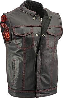 "جلیقه موتورسیکلت چرمی مشکی مردانه Xelement XS3449 ""Paisley"" با دوخت قرمز - 4X-Large"