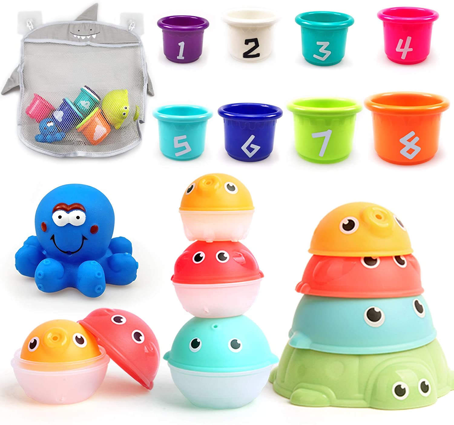 MoraBaby Baby Bath Stacking Toys with Organizer Bag, 8 Stacking Cup Toys, 4 Stack Up Squirts Animal Balls and 1 Floating Blue Octopus, Bath Time Fun Splash Toys, Gifts for Toddler 1-3 Years