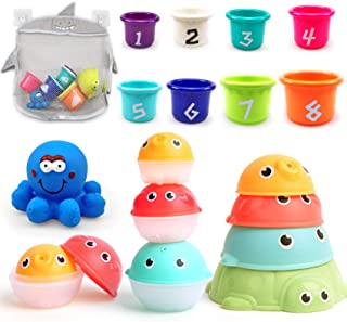 MoraBaby Baby Bath Stacking Toys, 8 Stacking Cup Toys, 4 Stack Up Squirts Animal Balls and 1 Floating Blue Octopus with Or...
