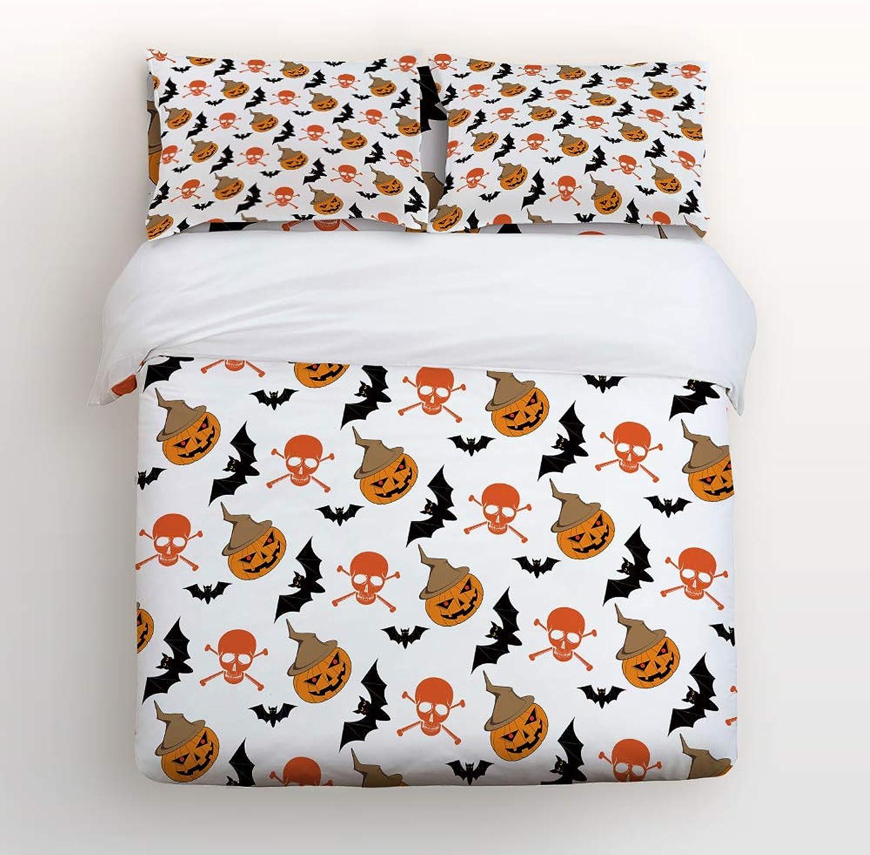 USOPHIA Twin Size 4 Pieces Bed Sheets Set, Pumpkin Bat Pattern 3D Print Floral Duvet Cover Set