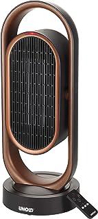 UNOLD 86535 - Calefactor de cerámica 3D, 1800 W, oscilación de 80°, ángulo de inclinación de 45°, con protección antivuelco y mando a distancia, cobre/negro