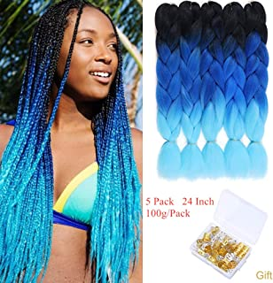 Ombre Jumbo Braids 24 Inch Ombre Braiding Hair Kanekalon Synthetic Crochet Twist Braiding Hair Extensions 5Packs/Lot (Black-Blue-Light Blue)