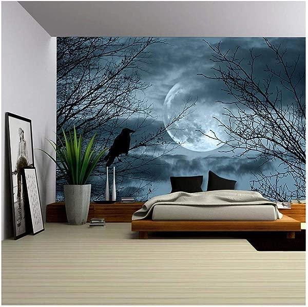 Wall26 万圣节背景幽灵森林和满月可移动的墙壁壁画自粘大壁纸 66x96 英寸