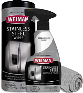Weiman Stainless Steel Cleaner Kit - Fingerprint Resistant, Removes Residue, Water Marks and Grease from Appliances - Works Great on Refrigerators, Dishwashers, Ovens, and Grills