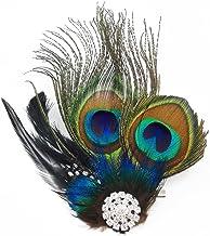 yueton Peacock Feather Hair Clip Pin Bridal Wedding Dance Party Hair Accessory