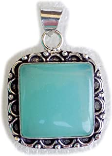 Green Onyx Pendant, Silver Plated Brass Pendant, Handmade Pendant, Gift Jewelry, Women Jewellry, Fashion Jewellry, BRS-12514