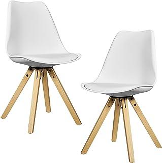 [en.casa] 2X sillas de Comedor Blancas tapizadas - sillas de Cocina de Cuero sintético