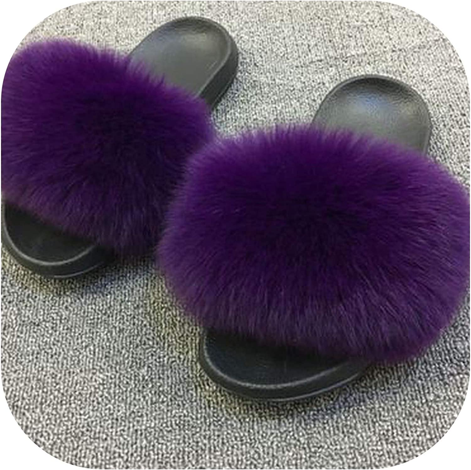 Real Fur Slippers Women Fox Home Winter Fluffy Sliders Comfort Natural Feather Furry Summer Flats