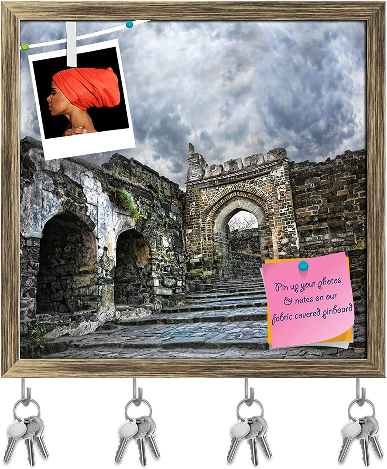 Artzfolio Daulatabad Fort Aurangabad India Key Holder Hooks   Notice Pin Board   Antique golden Frame 16.4 X 16Inch
