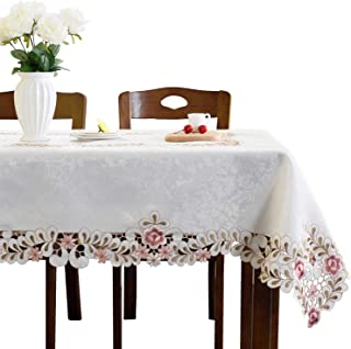 JH tablecloths Pink flower embroidered light yellow spring floral tablecloth rectangular 60 x 86 inch approx