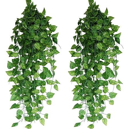 造花グリーン 人工観葉植物 フェイクグリーン 24本入り【Xiaz】造花藤 緑 葉 壁掛け 吊りのインテリア飾り人工植物 枯れないグリーン アイビー