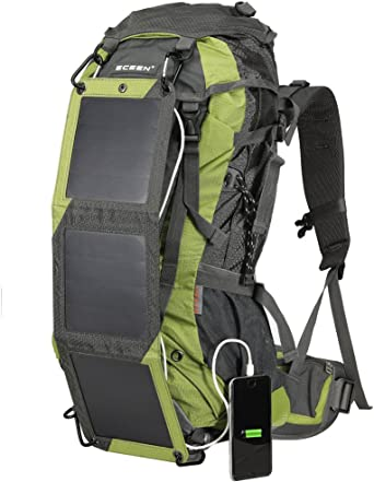 ECEEN Solar Hiking Backpack with Solar Charger Panel and Battery Pack