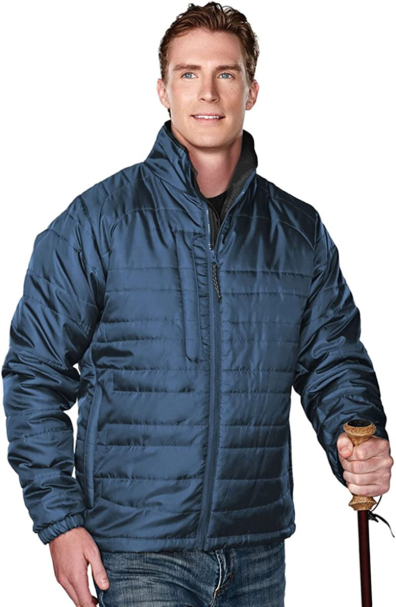 Tri-Mountain Men's 100% Polyester Rib- stop long sleeve quilt jacket with water resistent, 3XL, ATLANTIC/CHARCOAL