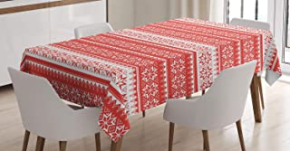 Ambesonne Nordic Tablecloth, Norwegian Swedish Traditional Motifs Stitch Needlework Pattern Vintage Image, Dining Room Kitchen Rectangular Table Cover, 60